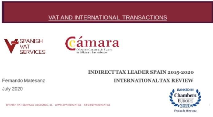 Gran éxito del Webinar organizado por la Cámara de Comercio Española en Bélgica y Luxemburgo, con la participación de Spanish Vat Services Asesores