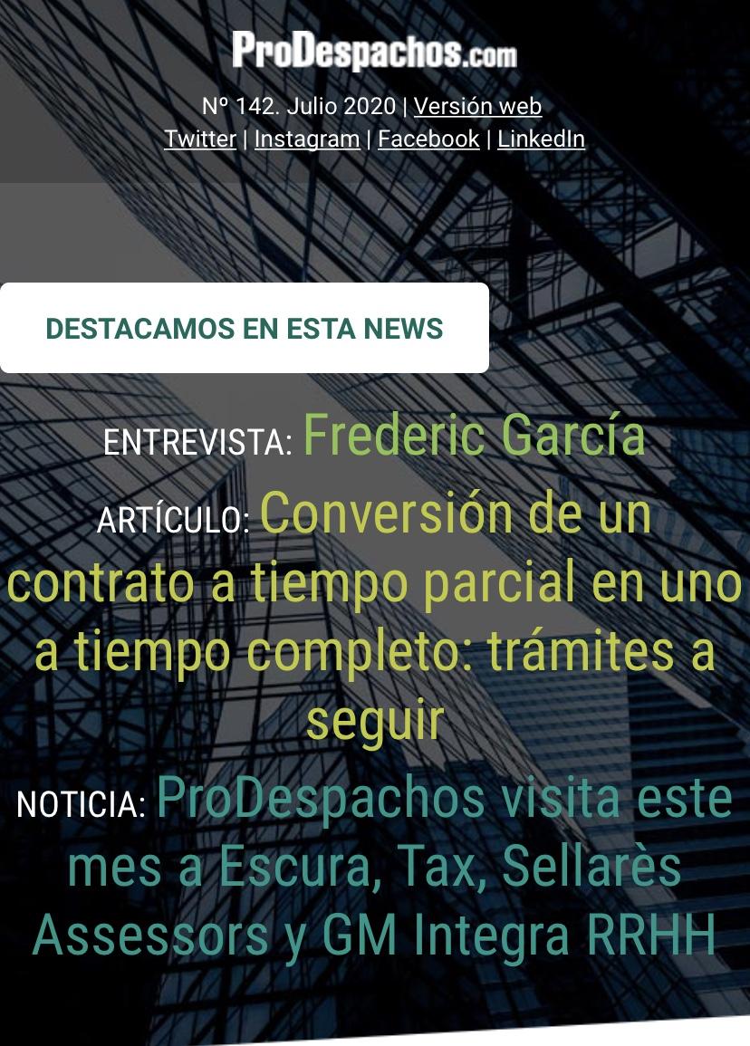 Ya ha salido la News de julio y agosto de Prodespachos
